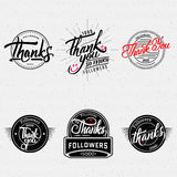 Thank you - typographic calligraphic lettering Stock Images