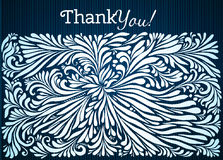 Thank you typographic card with ink floral Royalty Free Stock Photos