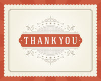 Thank You Typography Message Vintage Greeting Card Royalty Free Stock Images