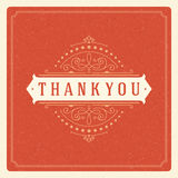 Thank You Typography Message Vintage Greeting Card Royalty Free Stock Photos