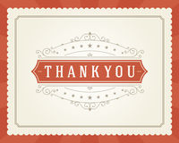 Thank You Typography Message Vintage Greeting Card Royalty Free Stock Photography