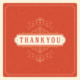 Thank You Typography Message Vintage Greeting Card Stock Photos