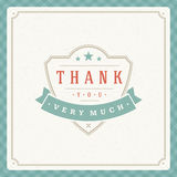 Thank You Typography Message Vintage Greeting Card Stock Photography