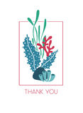 Thank you underwater greeting card with seaweeds Royalty Free Stock Images