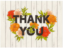 Thank you vector floral card. royalty free illustration