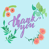Thank you vector greeting card or postcard.Hand inscription Stock Photography