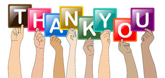 Thank you. Vector illustration of hands holding thank you Royalty Free Stock Images