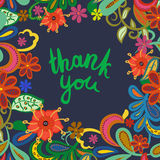 Thank you- vector phrase isolated on floral background. Stock Photo