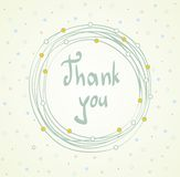 Thank you. Vector Thank you script greeting card with flowers stock illustration