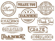 Thank you vector stamps. Thank you in different languages. Vector retro stamps stock illustration