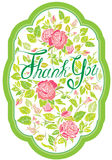 Thank you vertical card with beautiful flovers, pink roses. Styl Stock Photography