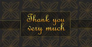 Thank you very much. Being grateful and sending a card: Thank you very much! Beautiful golden letters over stylish background Stock Photos