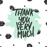 Thank you very much - hand drawn lettering phrase  on the polka dot background. Fun brush ink inscription for Stock Photos