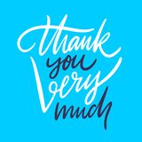 Thank you very much. Hand drawn vector lettering. Isolated on blue background. vector illustration