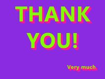 Thank you Very much UFO Green, Plastik Pink Colored Text on Proton Purple background vector illustration