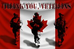 THANK YOU VETERANS against the background of the Canadian flag with soldiers