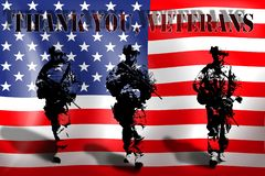 THANK YOU VETERANS on the background of the American flag with the soldiers
