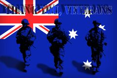 THANK YOU VETERANS on the background of the Australian flag with soldiers