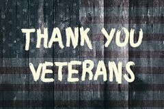 Thank you veterans card american flag grunge background