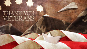 Thank You Veterans. Flag and Mimetic Mountains. Paper Boat and Airplane Stock Images