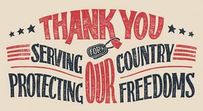 Thank you veterans hand-lettering card. Thank you for serving our country and protecting our freedoms. Veterans day hand-lettering greeting card. Holiday hand Royalty Free Stock Image