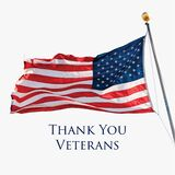 Thank You Veterans holiday banner with American Flag