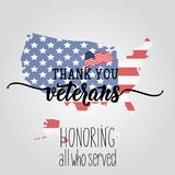 Thank You Veterans. Honoring all who served. lettering. November 11 holiday background. Greeting card.