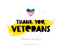 Thank you, veterans. Lettering. Thank you, veterans. Honoring all who served. Lettering. Vector illustration on white background with gold color ink smear. Heart Royalty Free Stock Image