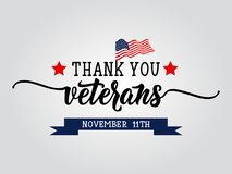Thank You Veterans lettering. November 11 holiday background. Greeting card.