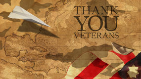 Thank You Veterans. Paper Airplane Usa Flag. Thank You Veterans. Paper Airplane and Boat Usa Flag MImetic Clouds and America Nautical Chart Royalty Free Stock Images
