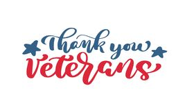 Thank you Veterans text. Calligraphy hand lettering vector card. National american holiday illustration. Festive poster or banner