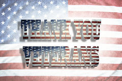 Thank you Veterans. Wording on American flag Royalty Free Stock Photos