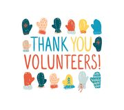 Thank you volunteers! Vector greeting card. Thank you volunteers! Greeting card for employees of the maintenance of events at the ski resort Royalty Free Stock Photography