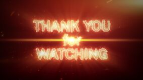 Thank You For Watching fire text with big bang flare light explosive cinematic trailer background with optical flares explosion. 4