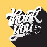 THANK YOU FOR WATCHING retro typography. Lettering in flat style with long shadow in vintage colors. Editable vector royalty free stock photography