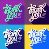 THANK YOU FOR WATCHING typography. Set of editable banners for social media. Flat style lettering with long shadow in royalty free stock photography