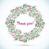 THANK YOU watercolor floral wreath, card Royalty Free Stock Photo