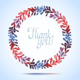 THANK YOU watercolor floral wreath Greeting card Stock Images