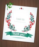 THANK YOU watercolor floral wreath ribbon Stock Images