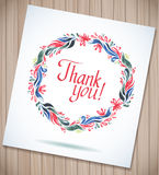 THANK YOU watercolor floral wreath, wood planks. Royalty Free Stock Image
