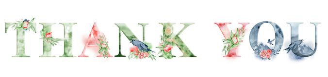 Thank you watercolor words design with floral bouquets and crown. Hand drawn lettering, typography inscription. Inspiring label