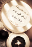 Thank you wedding buttons. Low DOF Macro Royalty Free Stock Photography