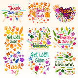 Thank you and Welcome wishing and greetings. Wishing and greetings for Thank you, Best of Luck, Good Day, Welcome, Get Well Soon in vector Stock Photo