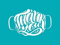 Thank you white lettering vector text in form of face mask on turquose background. Illustration for International Nurse Day.