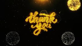 Thank You Wishes Greetings card, Invitation, Celebration Firework Looped. Thank You Text Sparks Particles Reveal from Golden Firework Display explosion 4K vector illustration