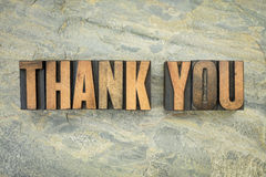 Thank you in wood type Stock Images
