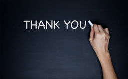 Thank you word on chalk board.  royalty free stock photos
