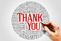 Thank You. Word Cloud in different languages royalty free stock image