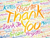 Thank You word cloud in different languages royalty free stock photography
