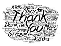 Thank You word cloud in different languages Stock Image